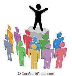 annonce, tribune improvisée, groupe, campagne, communication