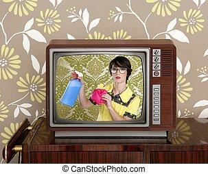 annonce, tvl, retro, nerd, femme foyer, nettoyage, corvées