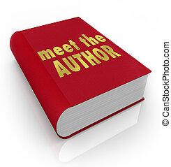 annoncer, auteur, couverture, écrivain, favori, bibliothèque...