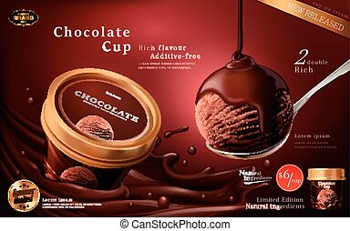 annonces, tasse, glace chocolat
