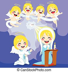 annonciation, anges, scène, marie