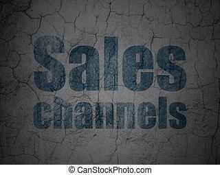 annonsering, concept:, försäljningarna, kanaler, på, grunge, vägg, bakgrund