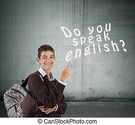 annotando, se, lei, parlare, inglese, studente