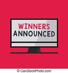 announced., begriff, verkünden, wettkampf, text, gewinner, konkurrenz, irgendein, bedeutung, gewonnen, handschrift, schreibende, oder