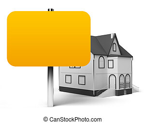 The announcement of sale or house purchase. It is a lot of place for the text. The isolated white background.