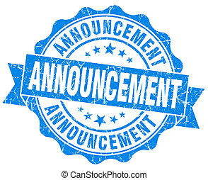 announcement blue vintage isolated seal