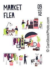 announcement., clothing., vector, justo, ilustración, compradores, mercado, caricatura, coloreado, plano, cartel, elegante, acontecimiento, plantilla, o, vendimia, estilo, mobiliario, trapo, vendedores, accesorios, pulga