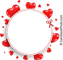 Announcement Coupon With Red Hearts With Gradient Mesh,...