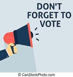 announcement., dimenticare, non faccia, mano, discorso, presa a terra, voto, megafono, bolla