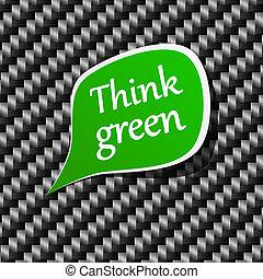 announcement., fala, verde, pensar