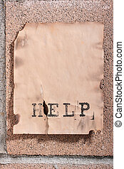 Announcement help - The announcement on a concrete wall with...