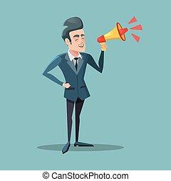 announcement., illustration, megaphone., vecteur, homme affaires, dessin animé