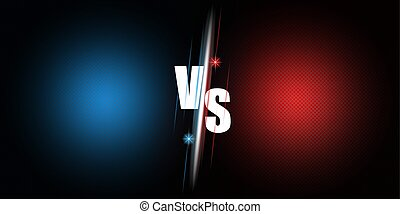 Announcement of the fight between two rivals versus the bright poster of the mockup duel on a blue and red neon background