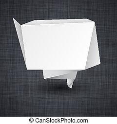 Announcement paper origami label. - Vector illustration of ...