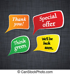 Announcement paper speech labels. - Vector illustration of...