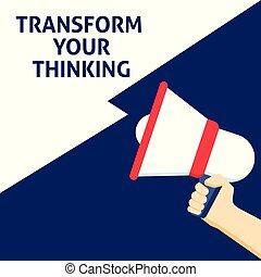 announcement., pensare, trasformare, mano, discorso, presa a terra, megafono, bolla, tuo