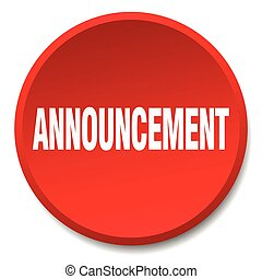 announcement red round flat isolated push button