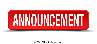 announcement red three-dimensional square button isolated on...