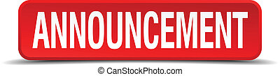 announcement red three-dimensional square button isolated on white background