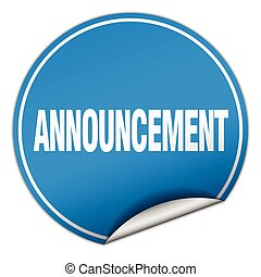 announcement round blue sticker isolated on white