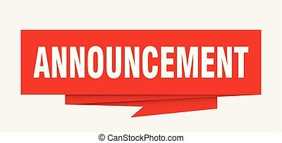 announcement sign. announcement paper origami speech bubble....