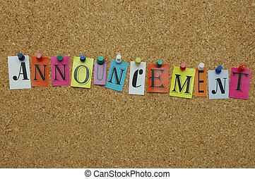 Announcement pinned on noticeboard