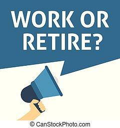 announcement., travail, main, parole, tenue, porte voix, bulle, ou, retire?