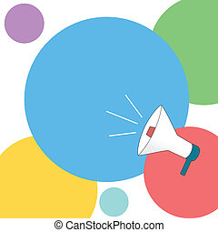 Announcement - Vector illustration of megaphone in colorful...