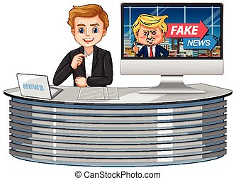 Announcer with fake news on tv or computer monitor screen isolated