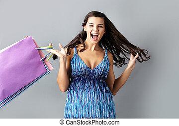 Announcing big sale - Portrait of emotional brunette with...