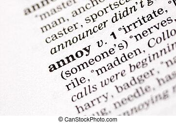 Annoy written in thesaurus - The word annoy written in...
