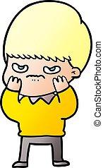 annoyed cartoon boy