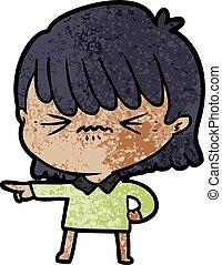 annoyed cartoon girl making accusation