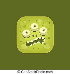 Annoyed Green Monster Emoji Icon