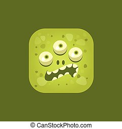 Annoyed Green Monster Emoji Icon