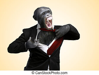 Annoyed Monkey Shouting On Yellow Background