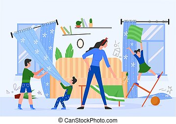 Annoyed mother with naughty children vector illustration, cartoon flat sad tired mom parent character angry at kids bad behavior and mess at home