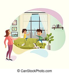 Annoyed Mother Yell at Naughty Children Banner. Angry Women Character Staying next to Spoiled Children. Boy and Girl Playing on Couch, Making Mess at Home. Flat Cartoon Vector Illustration