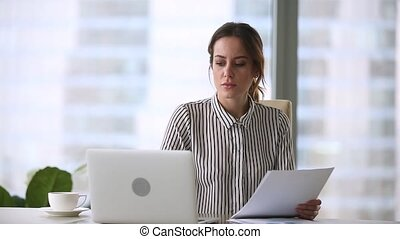 Annoyed stressed businesswoman mad about computer problem...