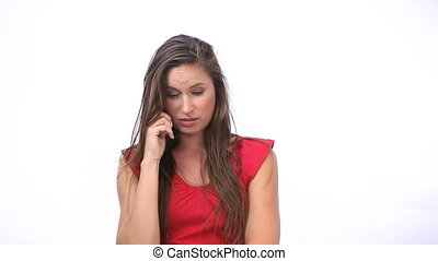 Annoyed woman calling - Video of an annoyed woman calling
