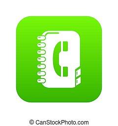annuaire, vert, icône