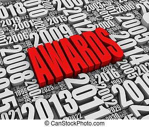 """""""AWARDS"""" 3D text surrounded by calendar dates. Part of a series."""