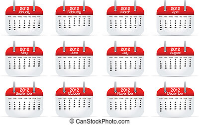 Annual Calendar 2012 English, vector illustration