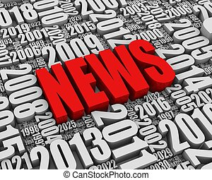 """Annual News Events - """"NEWS"""" 3D text surrounded by calendar..."""