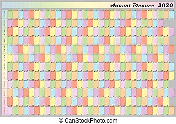Annual planner Calendar 2020 pastell collors specific for each weekday