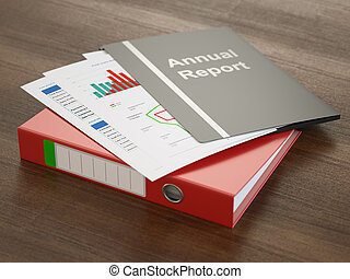 Annual Report - Annual report folders with graphs and charts...