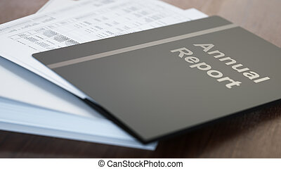Annual report folders with paper close-up