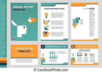 Annual report book cover and presentation template with flat...