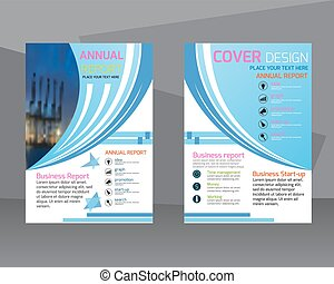 annual report brochure flyer design template. Leaflet colorful cover presentation abstract flat background, layout in A4 size.