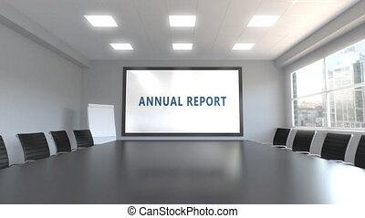 ANNUAL REPORT caption on the screen in a meeting room